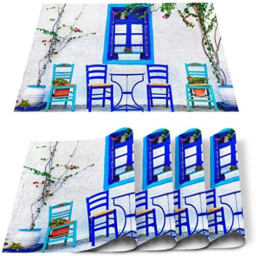 12 x 18 Inches Set of 6 Cotton and Linen Place mat, Simple Bistro on The Street with Green Plants Blue Chair Stain Resistant Non-Slip Table Mats for Kitchen Summer Island