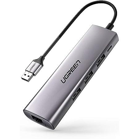 UGREEN Hub USB 3.0 3 Porte SuperSpeed 5 Gbps Trasferimento Dati +1 Ethernet Gigabit Ethernet 1000 Mbps per Mouse Tastiera Penna Hard Disk PS4 Stampante ECC.
