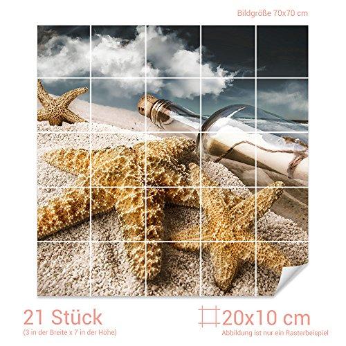 GRAZDesign Fliesenaufkleber Flaschenpost/Seesterne Bad-Fliesen mit Fliesenbildern überkleben (Fliesenmaß 20x10cm (BxH) / Bild 70x70cm (BxH))