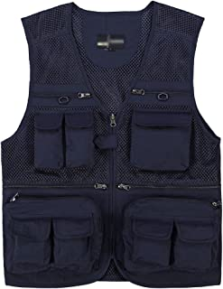 Sentao Men's Outdoor Casual Quick-Drying Extra Pockets Fishing Fish Vest Photography Vest