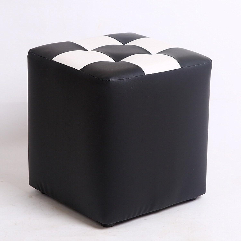 Stool Fashion Sofa stool Solid Wood stool Fabric stool Simple stool stool Coffee Table stool Bed stool (color   Black)