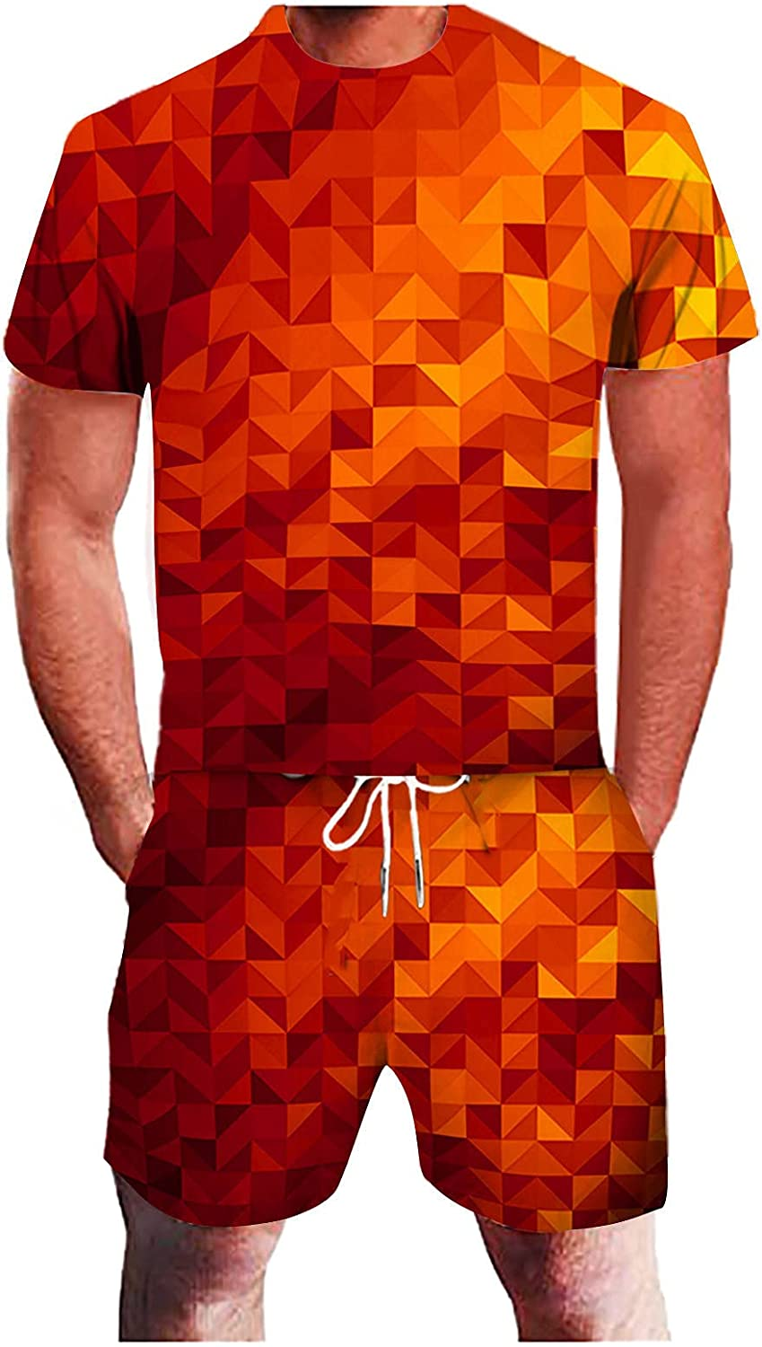 Beshion Two-Piece Suit Athletic Quick Dry Shorts and Short Sleeve 3D Geometric Abstract Fitness Running Sweatsuit