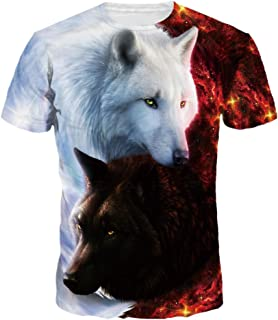 Unisex 3D Wolf T Shirts Couples Summer Short Sleeve T-Shirts Casual Tees