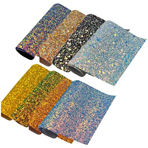 EXCEART 8 Pieces Sequin Glitter Faux Leather Sheets Synthetic Leather Fabric Back Craft for DIY Earrings