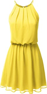 Women's Sleeveless Double-Layered Pleated Mini Chiffon Dress