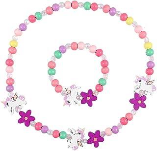 en Bois Coloré Enfants Ensemble de Bijoux,Princesse Collier Bracelets Set Licorne Perles Collier et Bracelet Cadeau pour L...