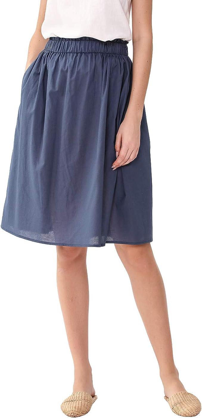 Amazhiyu Womens Linen Blend Elastic Waistband A-line Flowy Skirt Knee Length