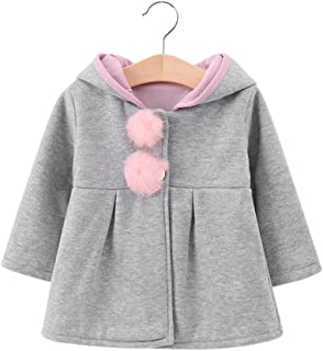 CYNDIE Baby Girls Warm Hooded Coat Jacket Toddler Kids Plush Outfit Cute Rabbit Ear Hoodies