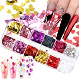 3D Heart Nail Glitter Sequins Valentine's Day Nail Art Stickers Decals Laser Heart Glitter for Nails Heart Nail Art Glitters Flakes Acrylic Nails Design Nail Sparkle Glitter for Nail Art Decoration