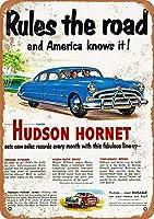 ハドソンホーネットウォールメタルポスターレトロプラーク警告ブリキサインヴィンテージ鉄絵画装飾バーガレージカフェのための面白いハンギングクラフト