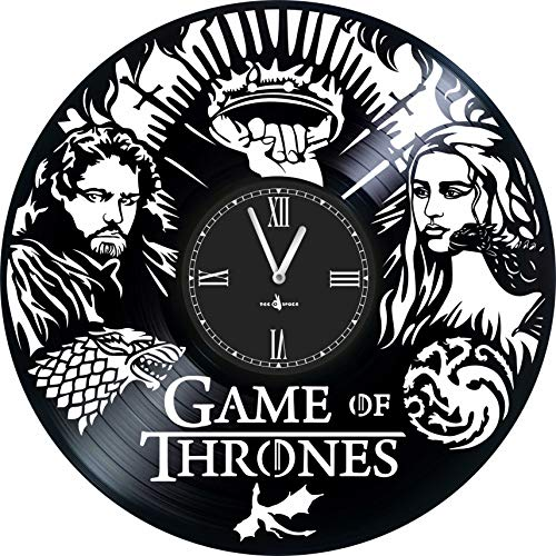 Wall Clock Vinyl Record Compatible with Game of Thrones - 12 inch - Precision Silent Quartz Movement - Best Gift for Fans Film Game of Thrones - Original Design - Home Decoration