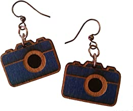 product image for Green Tree Jewelry Camera in Royal Blue laser-cut wood earrings sustainable eco-jewelry #1447