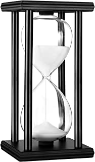 Hourglass Timer 30/60 Minutes Wood Sand Hourglass Clock for Creative Gifts Room Decor Office Kitchen Decor Birthday Christmas Gift (60 min, White)