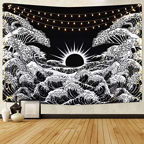 Bateruni Mandala Sunset Tapiz Gran Ocean Wave Kanagawa para colgar en la pared en blanco y negro Hippie Bohemia Manta de pared para sala de estar, dormitorio, 59.1 x 51.2 pulgadas