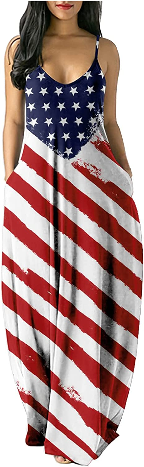 UBST 4th of July Dress for Women American Flag Printed Independence Day Long Maxi Dresses Sleeveless Summer Cami Dress