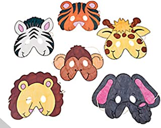 Color Your Own Zoo Animal Masks (12 Count)/Craft/Birthday Party/Activity