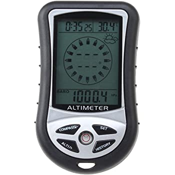8 in 1 Outdoor Elektronischer LCD Höhenmesser Thermometer Kompass Barometer