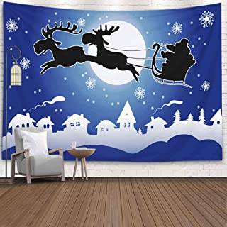 Jesmacti Tapestry for Wall Hanging,80X60 Inch Tie Dye Tapestry Wall Hanging Santa His Christmas Being Reindeer Background Your Pulled Wall Hanging Fall Tapestry for Bedroom,Christmas Tapestry