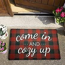 Christmas Doormats Holiday Winter Kitchen Rugs 18 × 30 Inches Come in and Cozy Up Floor Mat for Entryway, Front Door, Kitchen, Bathroom, Living Room, Bedroom,Indoor and Outdoor