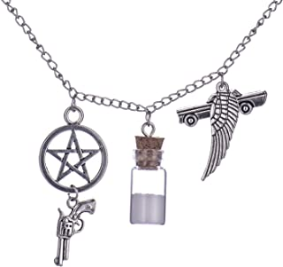 Supernatural Inspired Salt Bottle Protection Charm Necklace Pendant