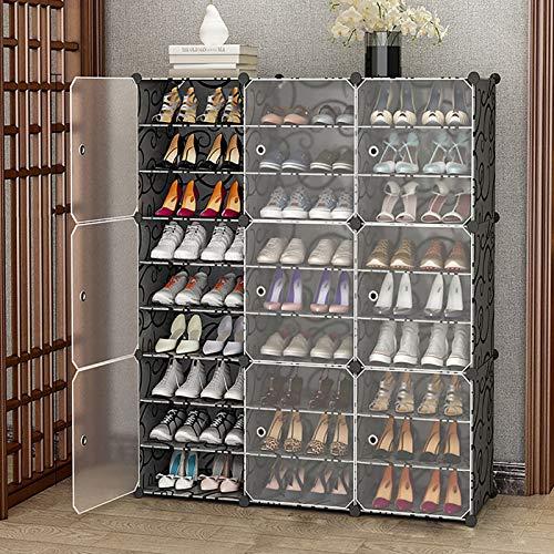 9 Nivel Plástico Estante De Almacenamiento De Rack De Zapatos,Gabinetes De Almacenamiento De Zapatos Con Estanterías Ajustables Y Puerta,Gran Capacidad Torre De Zapatos Para Entrad-Negro. 126x32x141cm