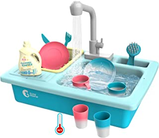 CUTE STONE Color Changing Kitchen Sink Toys, Children Heat Sensitive Electric Dishwasher..