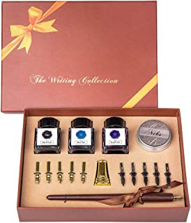 UBEART Calligraphy Pen Set With Gift Box-Includes 11 Nibs 3 Bottle Inks,Gold Pen Holder,Nibs Case,Calligraphy Instruction.Wooden Dipping Pen Perfect for Beginners Writing Professional
