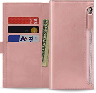 Qoosan Galaxy J5 Pro 2017 Wallet Case [Zipper] Protective PU Leather Flip Cover with Card Holder & Zipper Pocket - Rose Gold