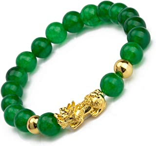 Prime Fengshui Porsperity Feng Shui Bead Bracelet with Gold Plated Pi Xiu/Pi Yao Attract Wealth and Good Luck(Green)