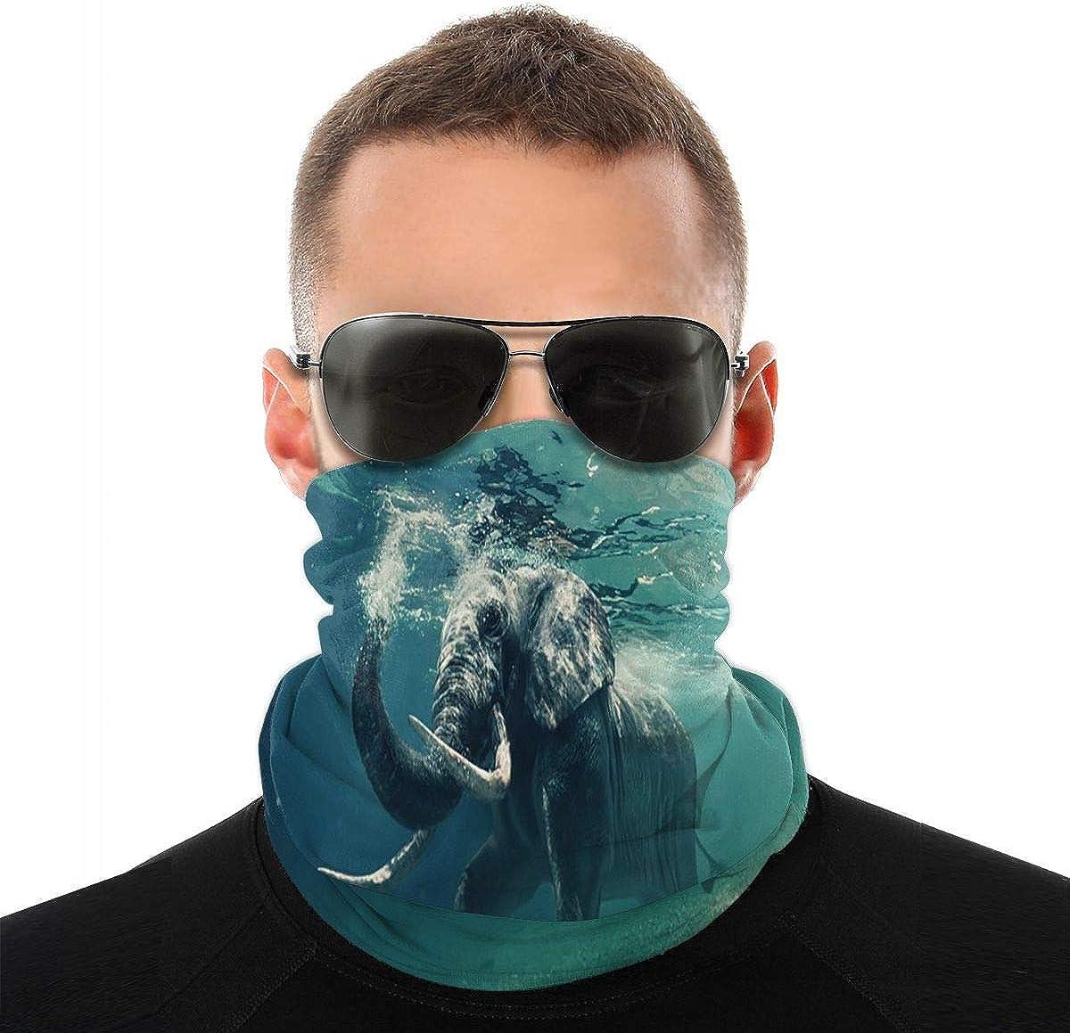 KiuLoam Hippie Elephant Under Water Seamless Face Mask Bandanas Neck Gaiter for Men and Women, Multifunction Headband Scarf for Dust, Outdoors, Sports