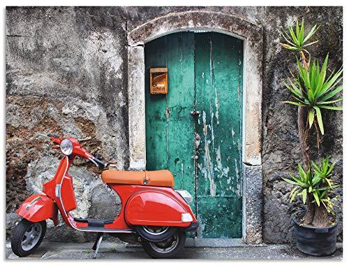 Artland Wandbild Alu für Innen & Outdoor Metall Bild 40x30 cm Toskana Italien Motorrad Roller Urlaub Sommer Mediterran Modern Kunst T5RR