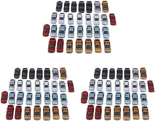 sharprepublic Uppsättning av 90 1: 100 målade leksaksbilar modellbil set fordon byggnad tåglayout parkeringsplatser vägför...