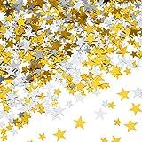 60 g de Confeti de Estrella Confeti de Mesa Plateado Dorado Estrellas de Papel Metálico para Decoraciones de Fiesta Boda Festivales, Tamaños Variados