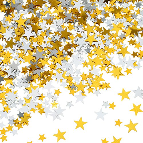 60 g Star Confetti Glitter Star Table Confetti Metallic Foil Stars for Party Wedding Festival Decorations (Gold Silver 60g, 10mm and 6mm)