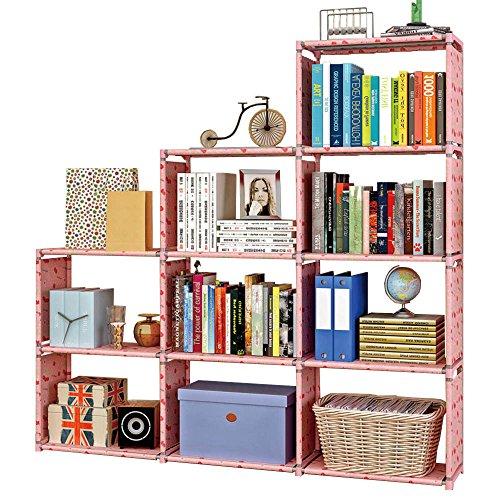 FKUO Multi-Layer Storage Regal Stahlrohr Vliesstoff Bücherregal Einfache Montage kann Wohnzimmer Rack Home Dekoration entfernt werden (Kirsche, 152*31*144cm)
