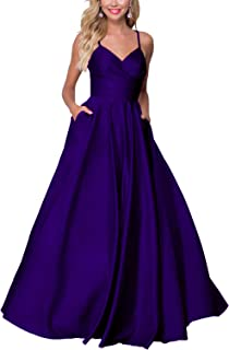 Women's V Neck Beads Straps Formal Prom Dresses with Pockets Long Spaghetti Evening Party Gown 104PM
