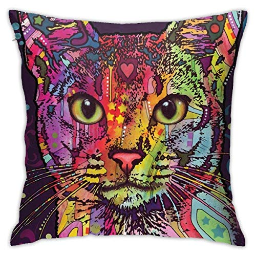 Bue Time Dean Russo Confident Cat Throw Cover Square Throw Pillow Cover Square