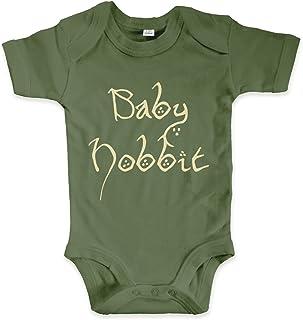net-shirts Organic Baby Body mit Baby Hobbit Aufdruck Spruch lustig Strampler Babybekleidung aus Bio-Baumwolle mit Zertifikat Inspired by Herr der Ringe