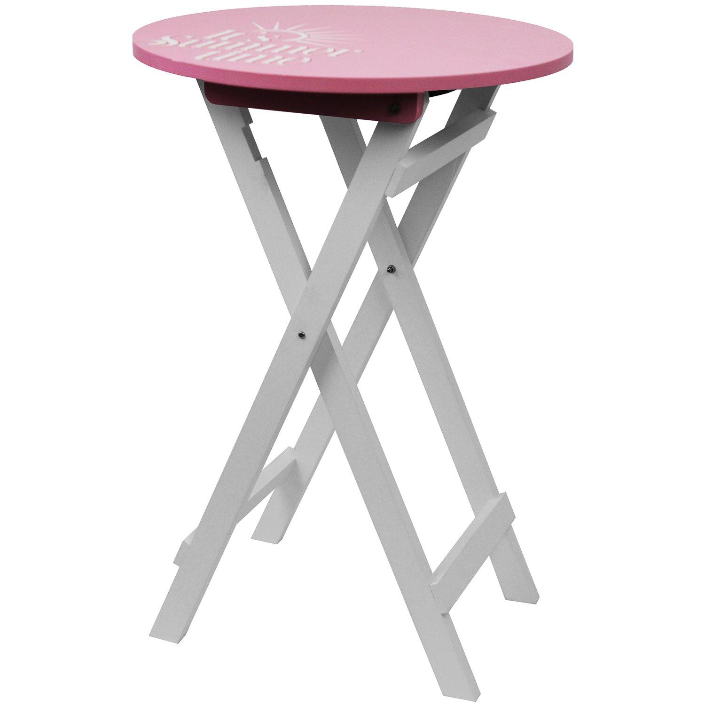 Mesa auxiliar redonda 40 x H60 cm Rosa/Blanco Mesa plegable bistro mesa Terraza mesa mesa de jardín mesa de camping: Amazon.es: Jardín