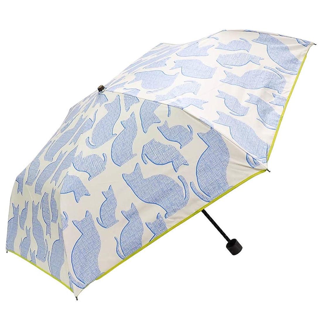農民火炎とまり木macocca(マコッカ) 完全遮光 遮光率100% UVカット率100% 超撥水 デザインシリーズ 晴雨兼用傘 折りたたみ傘 50cm 猫柄