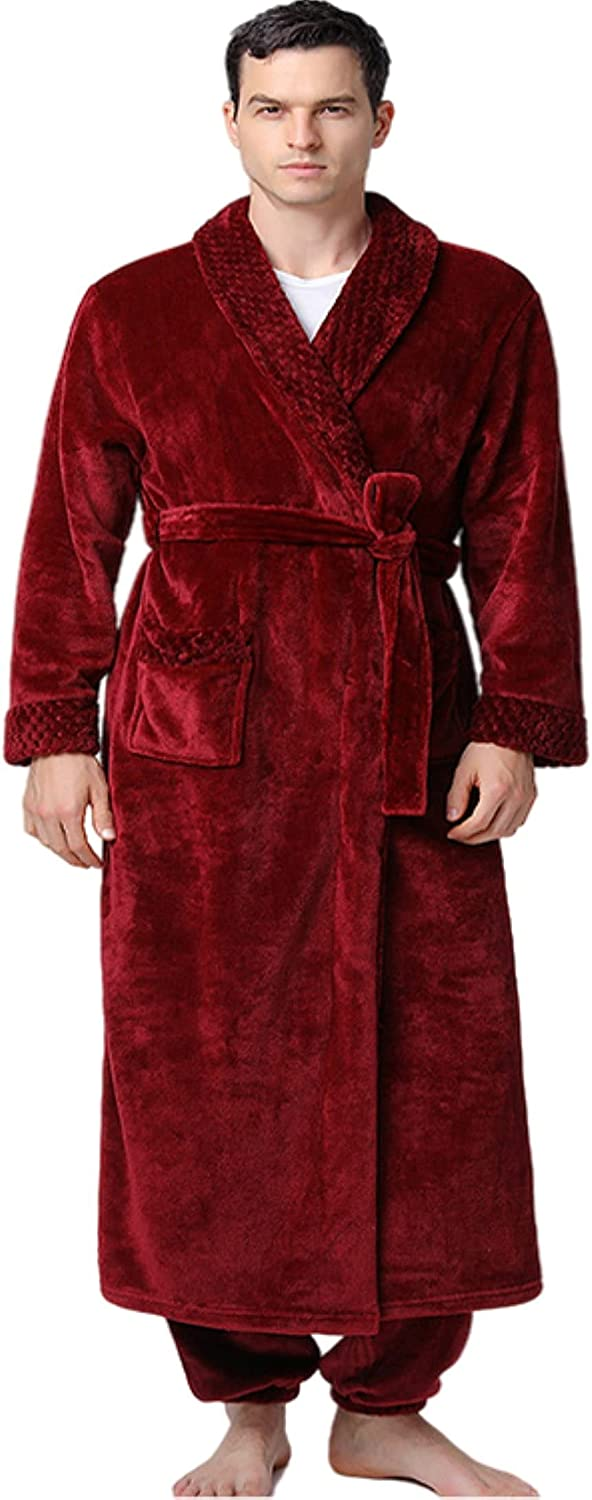 Men's flannel knit nightgown suit plus fleece set of 2 casual long robe with pockets