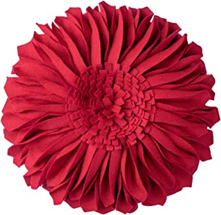 JWH Handmade 3D Flowers Accent Pillow Round Sunflower Cushion Decorative Pillowcase with Pillow Insert Home Sofa Bed Living Room Decor Gift 12 Inch / 30 cm Wool Red