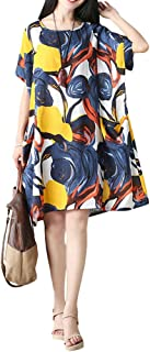 Mordenmiss Women's Summer Casual Dress Flowers Printing Beach Clothing