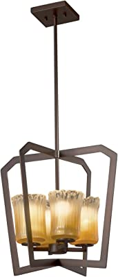LED LumenAria Aria 1-Light Intersecting Chandelier with Faux Alabaster Shade Dark Bronze Finish