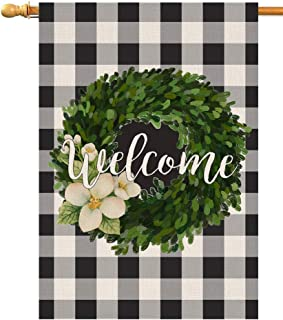 BLKWHT Welcome Buffalo Boxwood Wreath House Flag Vertical Double Sided Inch Farmhouse Autumn Yard Outdoor Decor 28 x 40 Inch