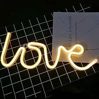 VUENICEE Neon Light Sign Love Night Light,Lámparas de Pared Interior, Iluminación de Interior decoración,USB/Alimentado por batería,para Bar, reunirse,navideña.