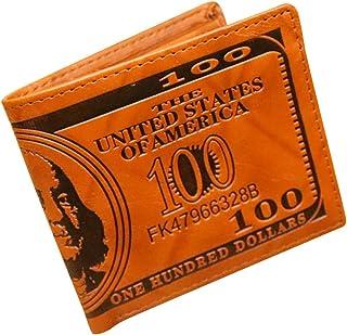 OULII Cool Mens US Dollar Wallet PU Tarjeta de crédito de Cuero Photo Holder Billfold Purse (Light Coffee)