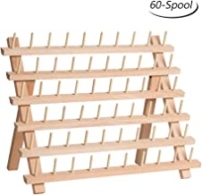 HAITRAL 60-Spool Thread Rack, Wooden Thread Holder Sewing Organizer for Sewing, Quilting, Embroidery, Hair-braiding, Hanging Jewelry