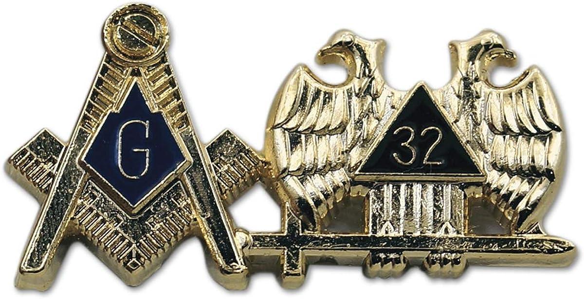 Square & Compass 32nd Degree Scottish Rite Masonic Lapel Pin - [Gold & Blue][1 1/4'' Wide]