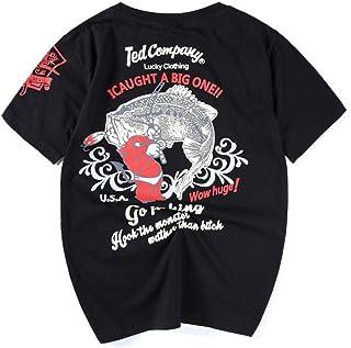Loose Men's Japanese Retro Tide Brand Men's Cotton Short Sleeve T-Shirt Hyococ (Color : Black, Size : M)